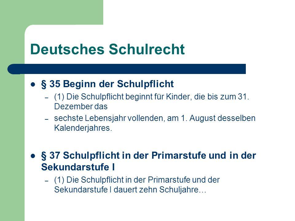Deutsches Schulrecht § 35 Beginn der Schulpflicht – (1) Die Schulpflicht beginnt für Kinder, die bis zum 31. Dezember das – sechste Lebensjahr vollend