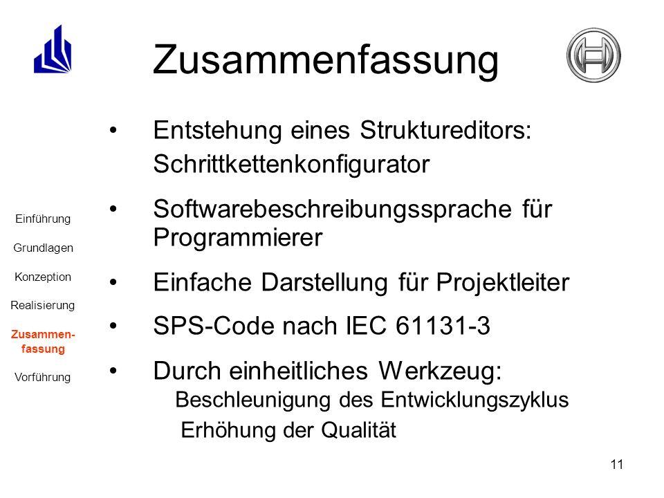 11 Zusammenfassung Entstehung eines Struktureditors: Schrittkettenkonfigurator Softwarebeschreibungssprache für Programmierer Einfache Darstellung für