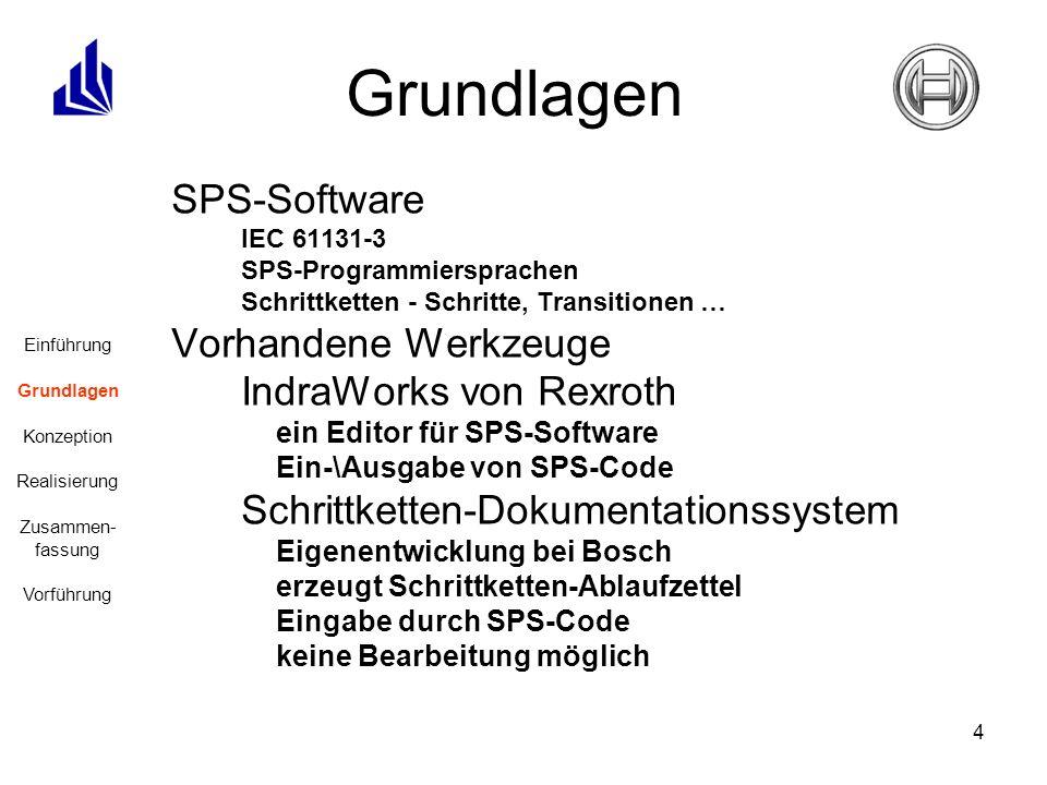 4 SPS-Software IEC 61131-3 SPS-Programmiersprachen Schrittketten - Schritte, Transitionen … Vorhandene Werkzeuge IndraWorks von Rexroth ein Editor für