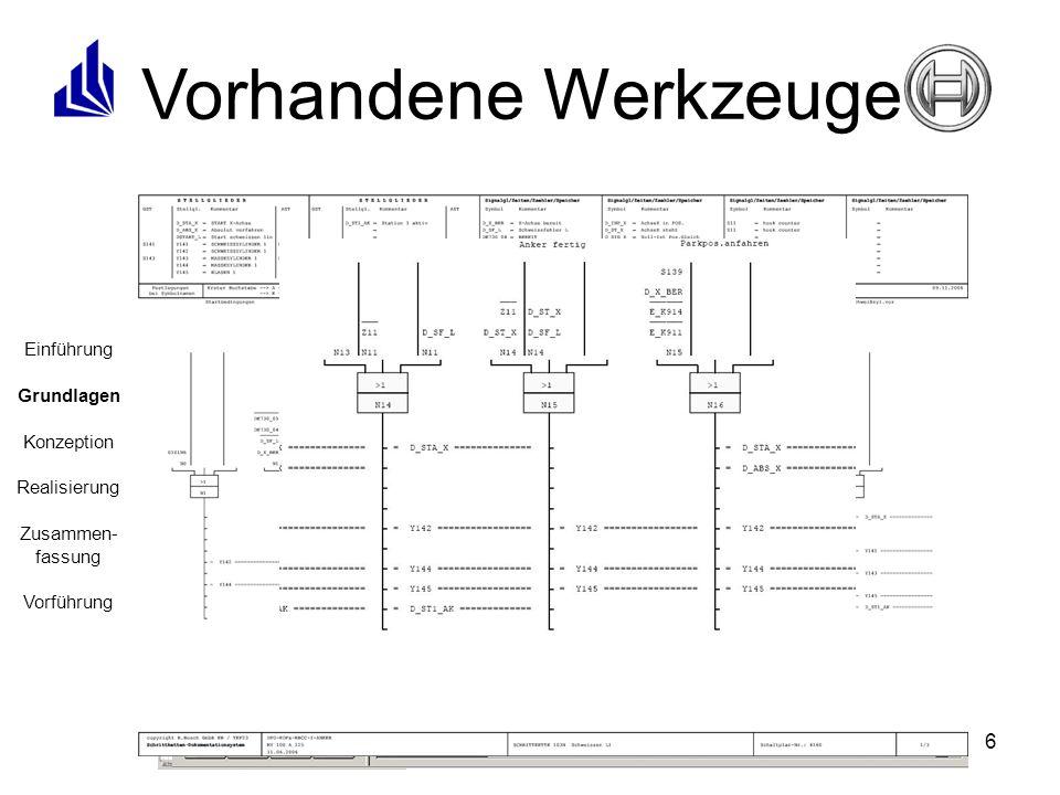 6 Vorhandene Werkzeuge Einführung Grundlagen Konzeption Realisierung Zusammen- fassung Vorführung Ablaufsprache (AS) Strukturierter Text (ST) Anweisungsliste (AWL) Kontaktplan (KOP) Funktionsbausteine (FBS)
