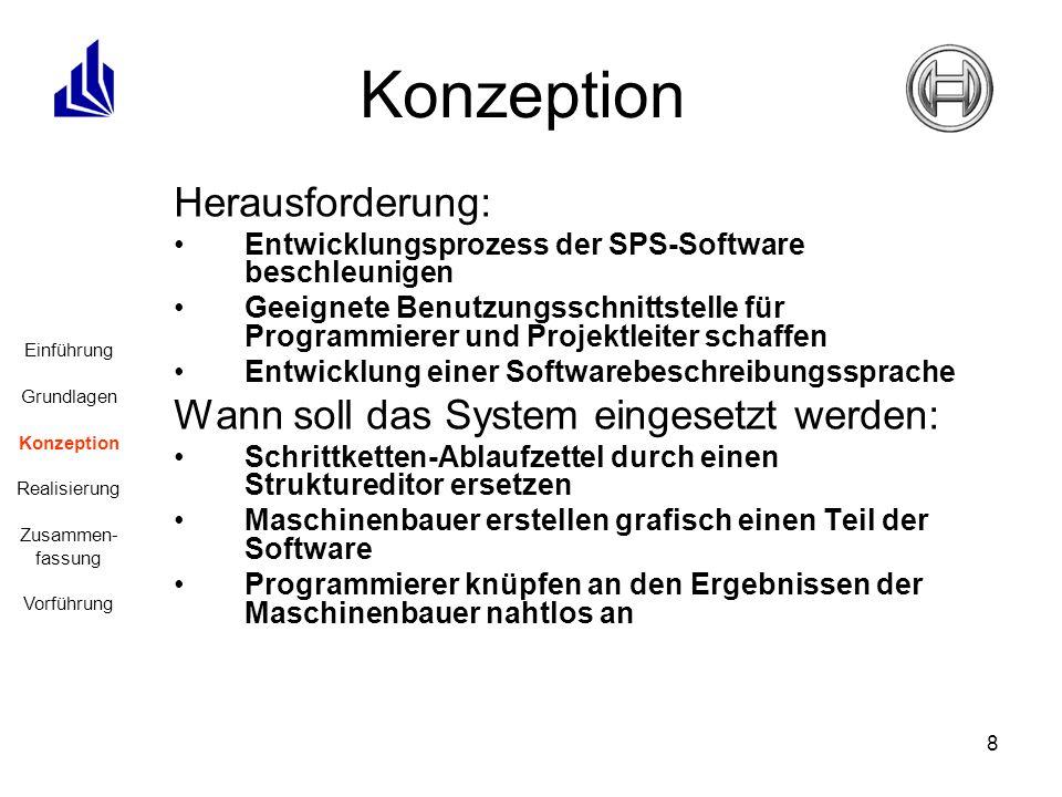 8 Herausforderung: Entwicklungsprozess der SPS-Software beschleunigen Geeignete Benutzungsschnittstelle für Programmierer und Projektleiter schaffen E