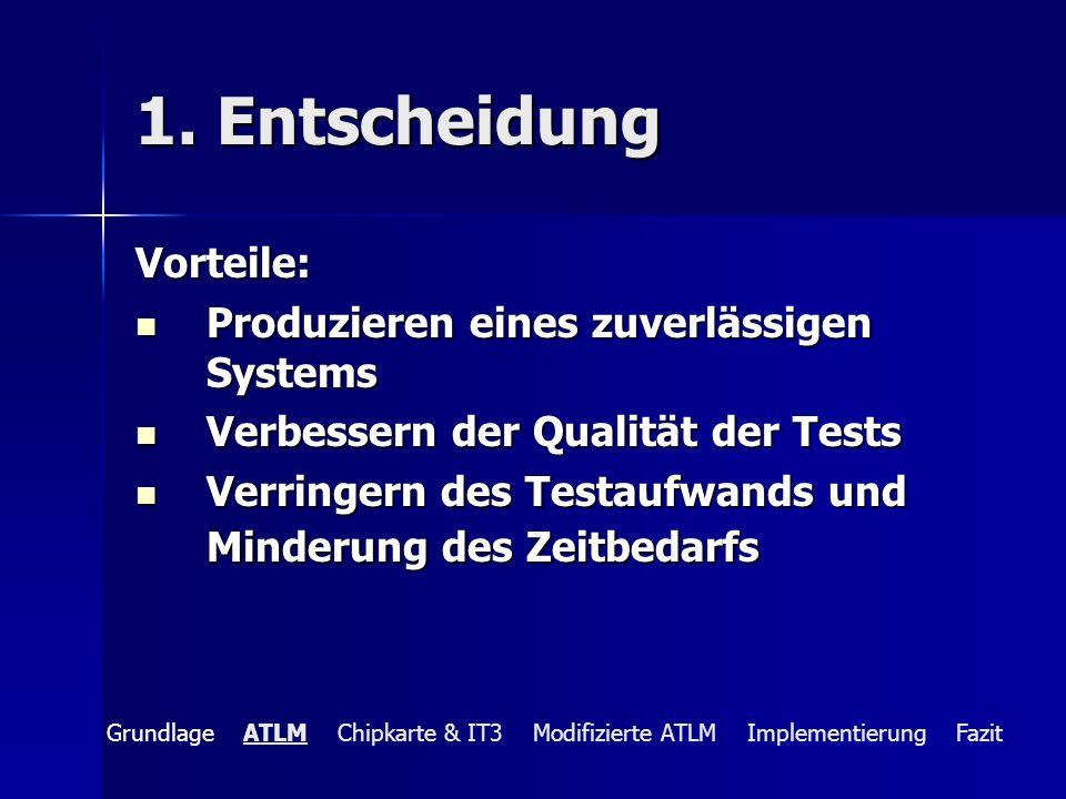 1. Entscheidung Vorteile: Produzieren eines zuverlässigen Systems Produzieren eines zuverlässigen Systems Verbessern der Qualität der Tests Verbessern