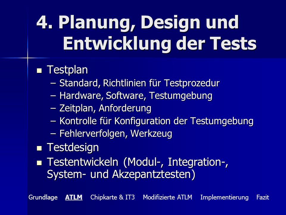 4. Planung, Design und Entwicklung der Tests Testplan Testplan –Standard, Richtlinien für Testprozedur –Hardware, Software, Testumgebung –Zeitplan, An