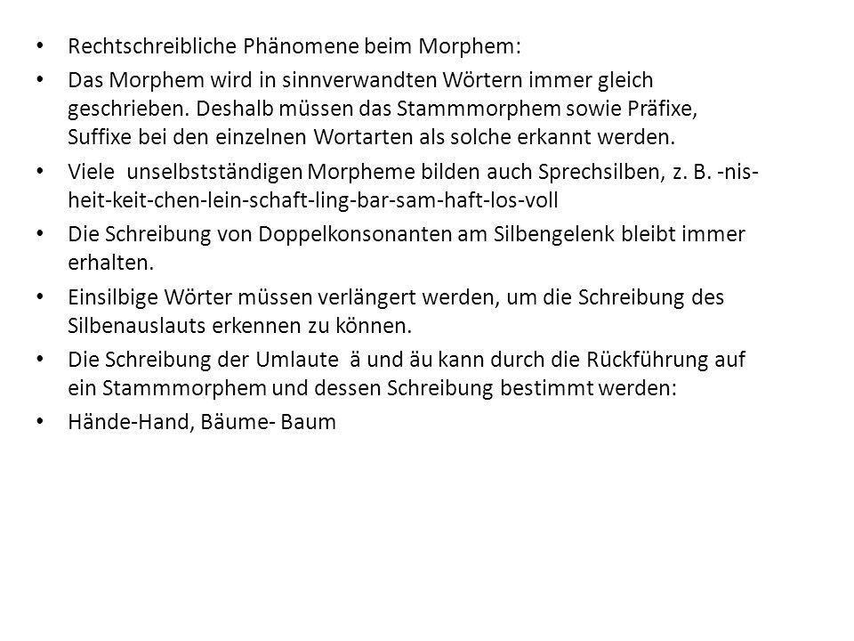 Rechtschreibliche Phänomene beim Morphem: Das Morphem wird in sinnverwandten Wörtern immer gleich geschrieben.