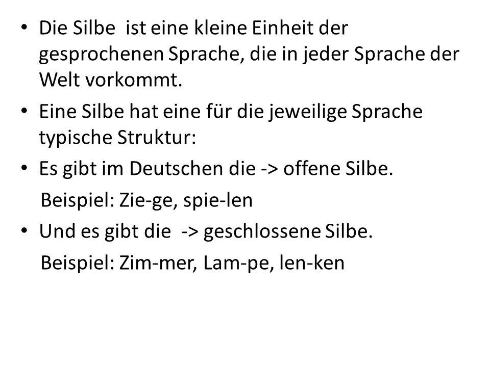 Die Silbe ist eine kleine Einheit der gesprochenen Sprache, die in jeder Sprache der Welt vorkommt.