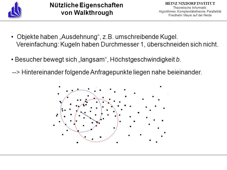 HEINZ NIXDORF INSTITUT Theoretische Informatik: Algorithmen, Komplexitätstheorie, Parallelität Friedhelm Meyer auf der Heide Nützliche Eigenschaften von Walkthrough Objekte haben Ausdehnung, z.B.