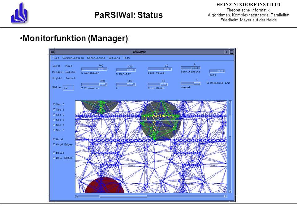 HEINZ NIXDORF INSTITUT Theoretische Informatik: Algorithmen, Komplexitätstheorie, Parallelität Friedhelm Meyer auf der Heide PaRSIWal: Status Monitorfunktion (Manager):