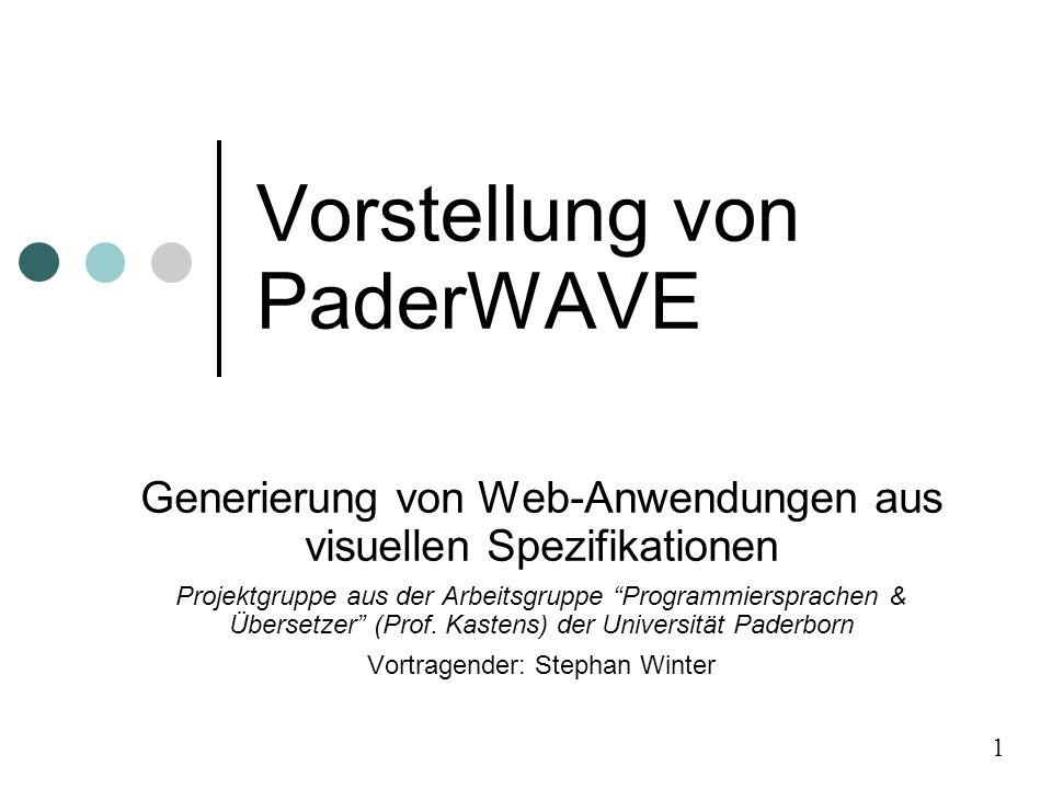 Vorstellung von PaderWAVE Generierung von Web-Anwendungen aus visuellen Spezifikationen Projektgruppe aus der Arbeitsgruppe Programmiersprachen & Übersetzer (Prof.