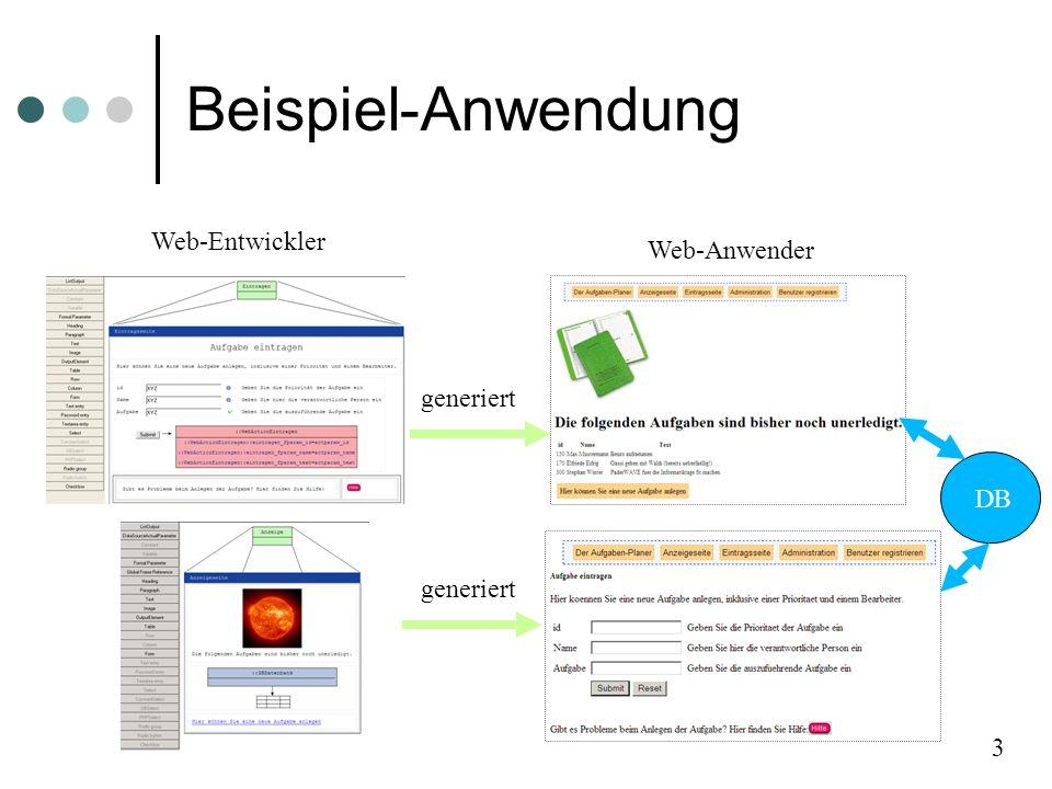 Beispiel-Anwendung 3 DB generiert Web-Entwickler Web-Anwender DB