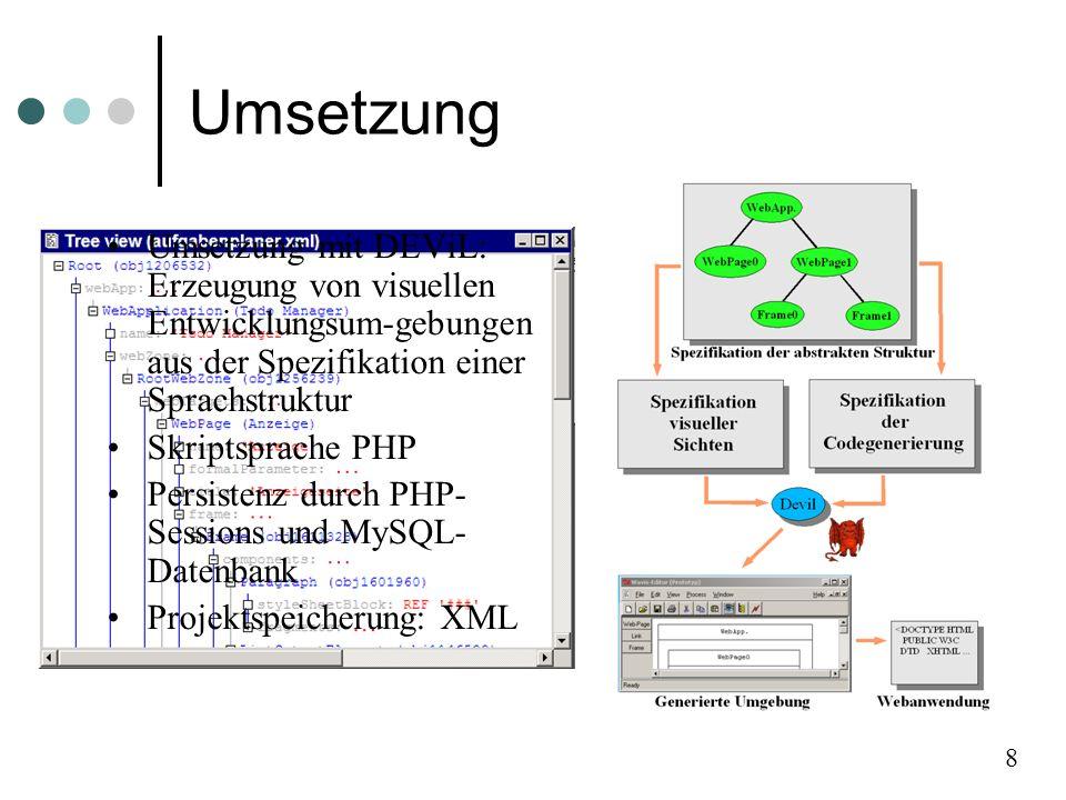Umsetzung Umsetzung mit DEViL: Erzeugung von visuellen Entwicklungsum-gebungen aus der Spezifikation einer Sprachstruktur Skriptsprache PHP Persistenz durch PHP- Sessions und MySQL- Datenbank Projektspeicherung: XML 8
