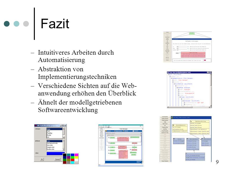Fazit –Intuitiveres Arbeiten durch Automatisierung –Abstraktion von Implementierungstechniken –Verschiedene Sichten auf die Web- anwendung erhöhen den Überblick –Ähnelt der modellgetriebenen Softwareentwicklung 9