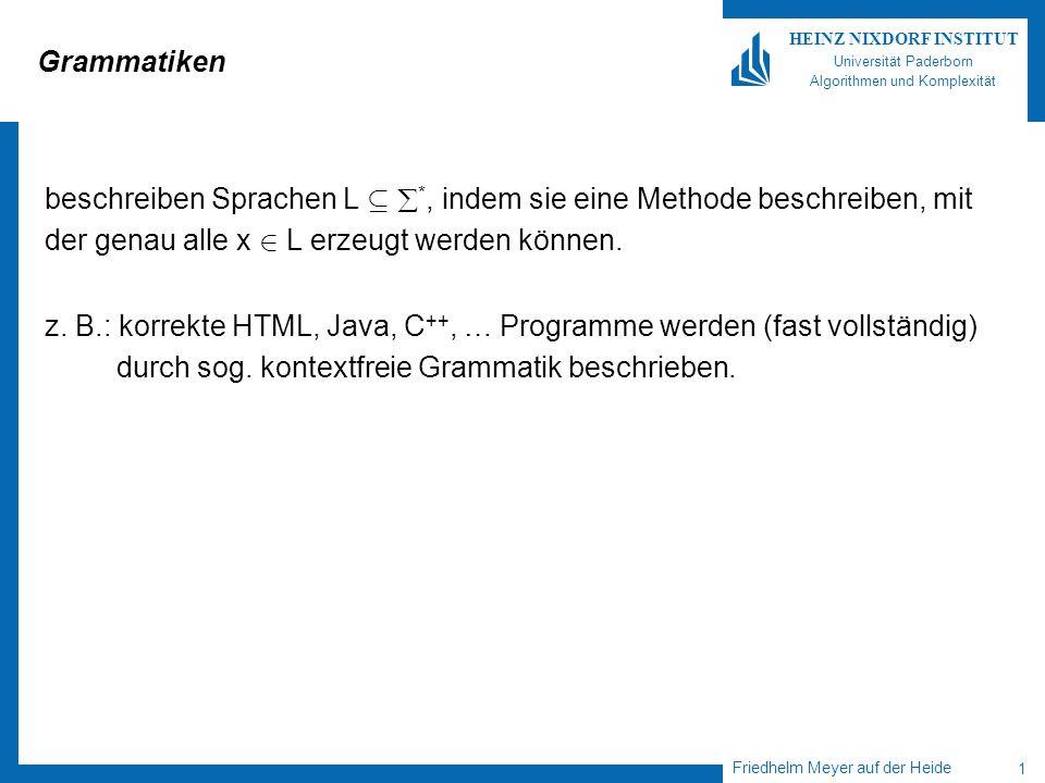Friedhelm Meyer auf der Heide 1 HEINZ NIXDORF INSTITUT Universität Paderborn Algorithmen und Komplexität Grammatiken beschreiben Sprachen L µ *, indem sie eine Methode beschreiben, mit der genau alle x 2 L erzeugt werden können.