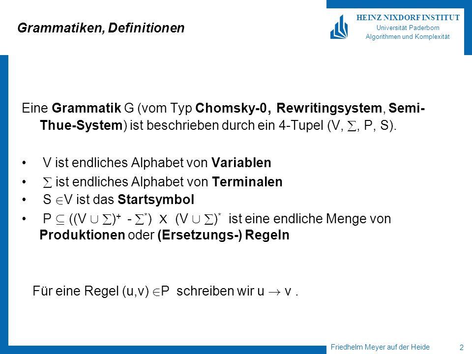 Friedhelm Meyer auf der Heide 2 HEINZ NIXDORF INSTITUT Universität Paderborn Algorithmen und Komplexität Grammatiken, Definitionen Eine Grammatik G (vom Typ Chomsky-0, Rewritingsystem, Semi- Thue-System) ist beschrieben durch ein 4-Tupel (V,, P, S).