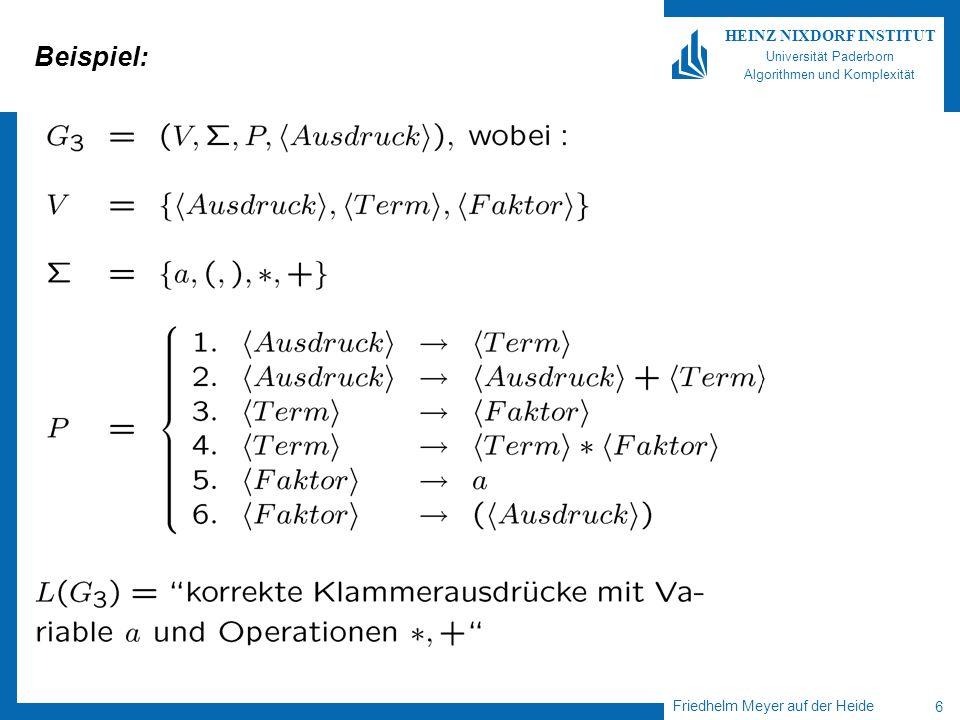 Friedhelm Meyer auf der Heide 6 HEINZ NIXDORF INSTITUT Universität Paderborn Algorithmen und Komplexität Beispiel: