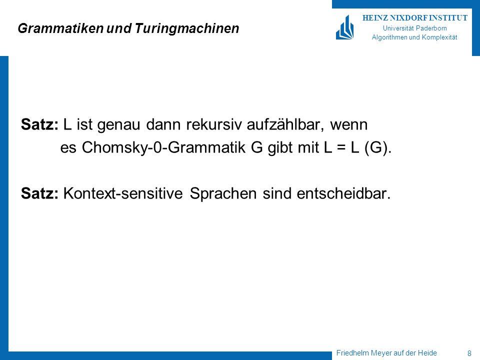 Friedhelm Meyer auf der Heide 8 HEINZ NIXDORF INSTITUT Universität Paderborn Algorithmen und Komplexität Grammatiken und Turingmachinen Satz: L ist genau dann rekursiv aufzählbar, wenn es Chomsky-0-Grammatik G gibt mit L = L (G).
