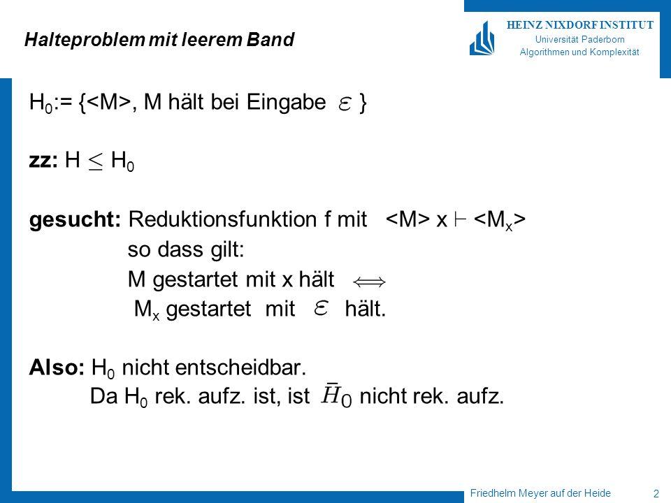 Friedhelm Meyer auf der Heide 2 HEINZ NIXDORF INSTITUT Universität Paderborn Algorithmen und Komplexität Halteproblem mit leerem Band H 0 := {, M hält bei Eingabe } zz: H · H 0 gesucht: Reduktionsfunktion f mit x ` so dass gilt: M gestartet mit x hält M x gestartet mit hält.