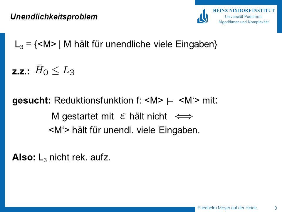 Friedhelm Meyer auf der Heide 3 HEINZ NIXDORF INSTITUT Universität Paderborn Algorithmen und Komplexität Unendlichkeitsproblem L 3 = { | M hält für unendliche viele Eingaben} z.z.: gesucht: Reduktionsfunktion f: mit : M gestartet mit hält nicht hält für unendl.