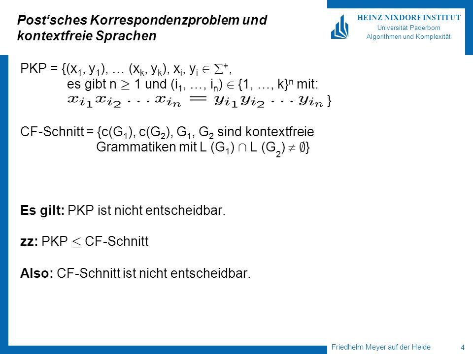 Friedhelm Meyer auf der Heide 4 HEINZ NIXDORF INSTITUT Universität Paderborn Algorithmen und Komplexität Postsches Korrespondenzproblem und kontextfreie Sprachen PKP = {(x 1, y 1 ), … (x k, y k ), x i, y i 2 +, es gibt n ¸ 1 und (i 1, …, i n ) 2 {1, …, k} n mit: } CF-Schnitt = {c(G 1 ), c(G 2 ), G 1, G 2 sind kontextfreie Grammatiken mit L (G 1 ) Å L (G 2 ) ; } Es gilt: PKP ist nicht entscheidbar.
