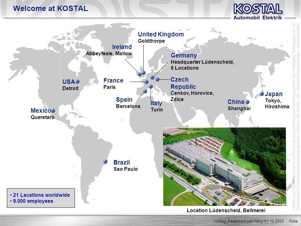 © 2002, Leopold Kostal GmbH & Co. KG. Inhalt und Darstellung sind weltweit geschützt. Vervielfältigung, Weitergabe oder Ver- Wertung ist ohne Zustimmu