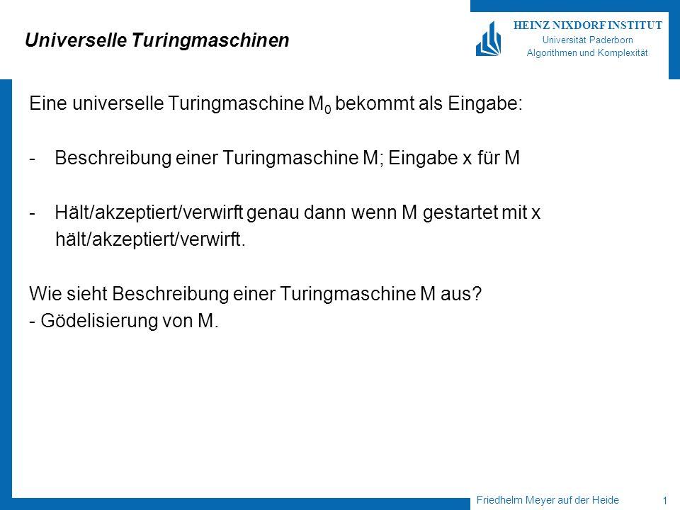 Friedhelm Meyer auf der Heide 1 HEINZ NIXDORF INSTITUT Universität Paderborn Algorithmen und Komplexität Universelle Turingmaschinen Eine universelle Turingmaschine M 0 bekommt als Eingabe: -Beschreibung einer Turingmaschine M; Eingabe x für M -Hält/akzeptiert/verwirft genau dann wenn M gestartet mit x hält/akzeptiert/verwirft.