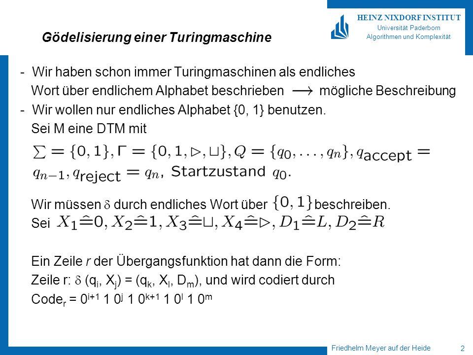Friedhelm Meyer auf der Heide 2 HEINZ NIXDORF INSTITUT Universität Paderborn Algorithmen und Komplexität Gödelisierung einer Turingmaschine - Wir habe