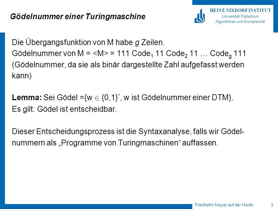 Friedhelm Meyer auf der Heide 4 HEINZ NIXDORF INSTITUT Universität Paderborn Algorithmen und Komplexität Universelle Turingmaschinen Eine Turingmaschine M 0 heißt universell, falls für jede 1-Band DTM M und jedes x 2 {0,1} * gilt: -M 0 gestartet mit x hält genau dann, wenn M gestartet mit x hält.