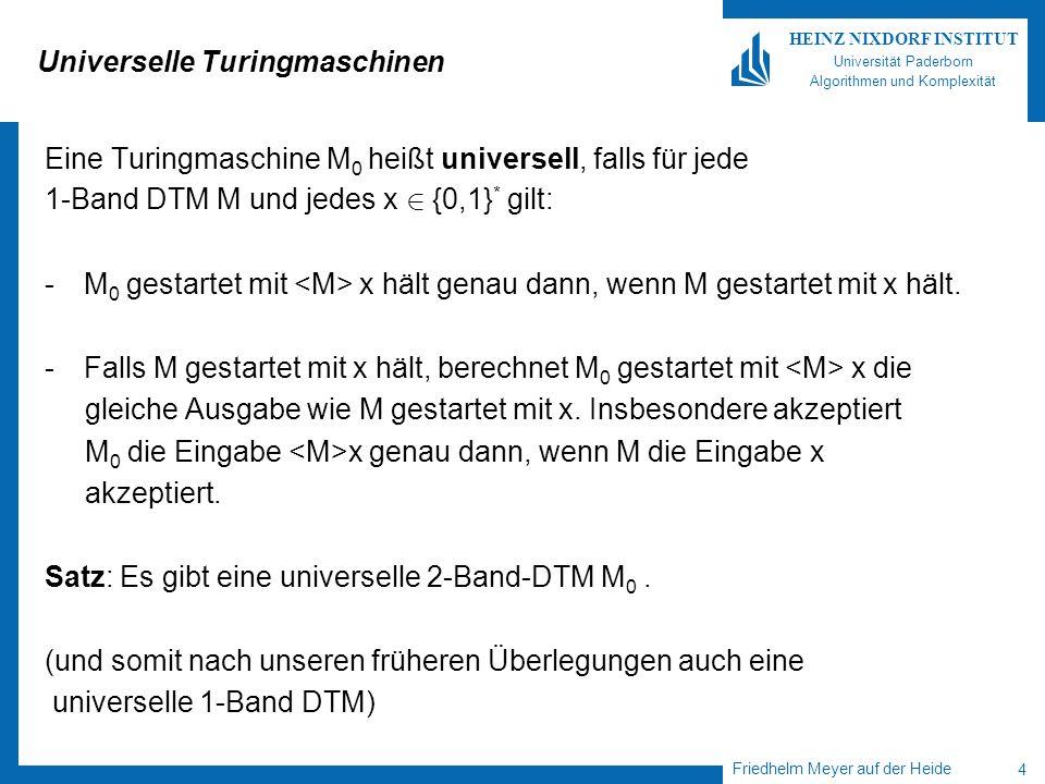 Friedhelm Meyer auf der Heide 4 HEINZ NIXDORF INSTITUT Universität Paderborn Algorithmen und Komplexität Universelle Turingmaschinen Eine Turingmaschi