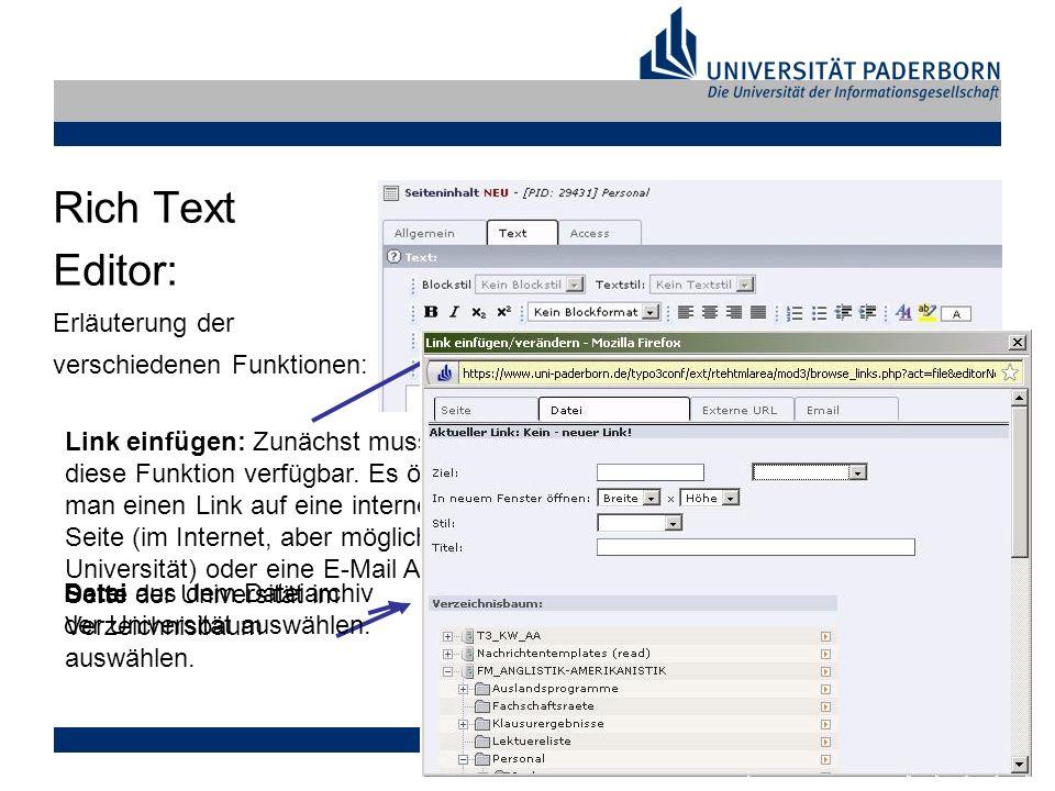 Markus Tank, 17.02.2009 Rich Text Editor: Erläuterung der verschiedenen Funktionen: Link einfügen: Zunächst muss man ein Wort im Text markieren.