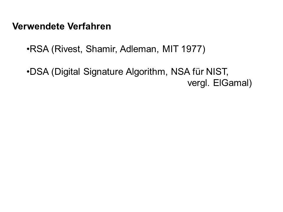 Verwendete Verfahren RSA (Rivest, Shamir, Adleman, MIT 1977) DSA (Digital Signature Algorithm, NSA für NIST, vergl. ElGamal)