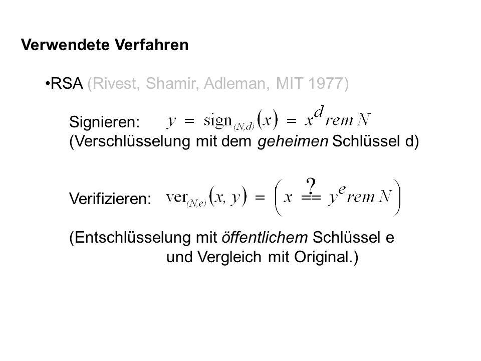 Verwendete Verfahren RSA (Rivest, Shamir, Adleman, MIT 1977) Signieren: (Verschlüsselung mit dem geheimen Schlüssel d) Verifizieren: (Entschlüsselung mit öffentlichem Schlüssel e und Vergleich mit Original.) ?