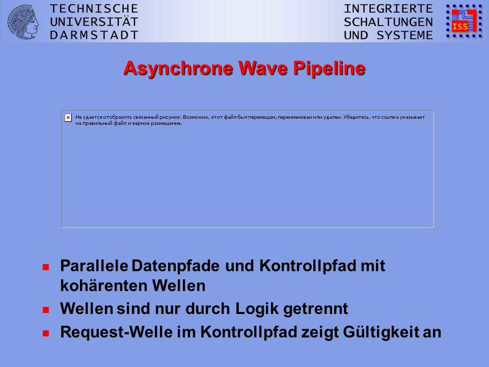 Asynchrone Wave Pipeline n Parallele Datenpfade und Kontrollpfad mit kohärenten Wellen n Wellen sind nur durch Logik getrennt n Request-Welle im Kontrollpfad zeigt Gültigkeit an