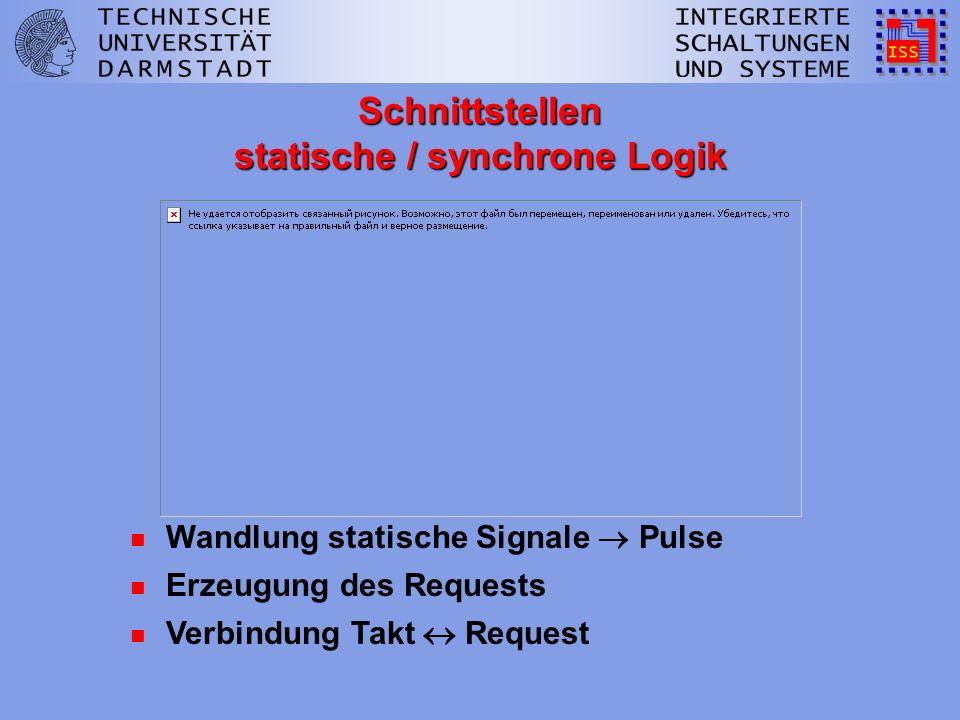 n Wandlung und Synchronisation der Ausgabe n Verbindung Takt Request n Erzeugung des Requests Schnittstellen statische / synchrone Logik n Wandlung statische Signale Pulse
