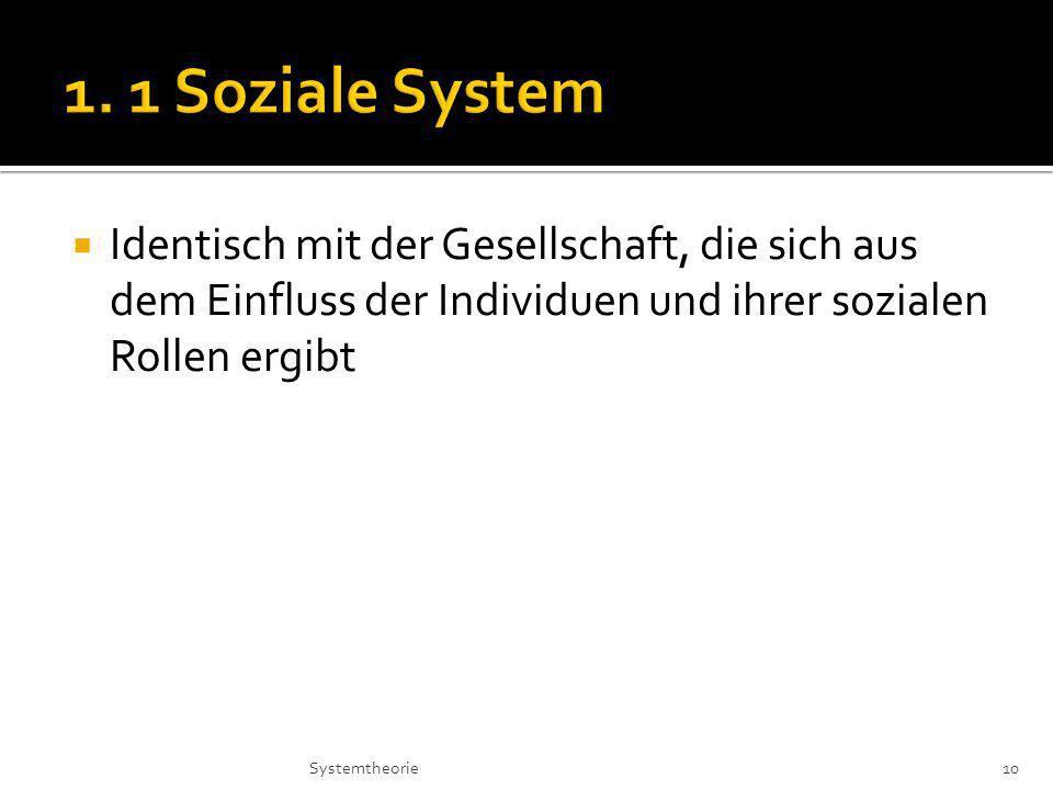 Identisch mit der Gesellschaft, die sich aus dem Einfluss der Individuen und ihrer sozialen Rollen ergibt 10Systemtheorie