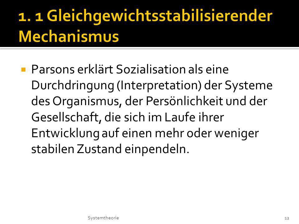Parsons erklärt Sozialisation als eine Durchdringung (Interpretation) der Systeme des Organismus, der Persönlichkeit und der Gesellschaft, die sich im Laufe ihrer Entwicklung auf einen mehr oder weniger stabilen Zustand einpendeln.