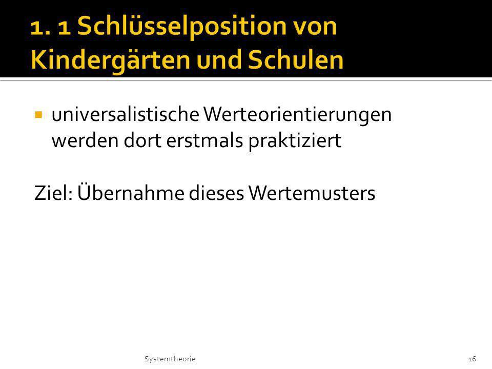 universalistische Werteorientierungen werden dort erstmals praktiziert Ziel: Übernahme dieses Wertemusters 16Systemtheorie