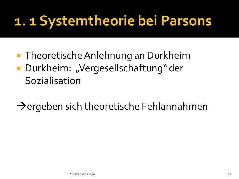 Theoretische Anlehnung an Durkheim Durkheim: Vergesellschaftung der Sozialisation ergeben sich theoretische Fehlannahmen 17Systemtheorie