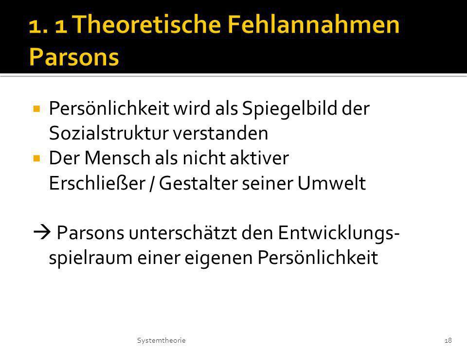 Persönlichkeit wird als Spiegelbild der Sozialstruktur verstanden Der Mensch als nicht aktiver Erschließer / Gestalter seiner Umwelt Parsons unterschätzt den Entwicklungs- spielraum einer eigenen Persönlichkeit 18Systemtheorie