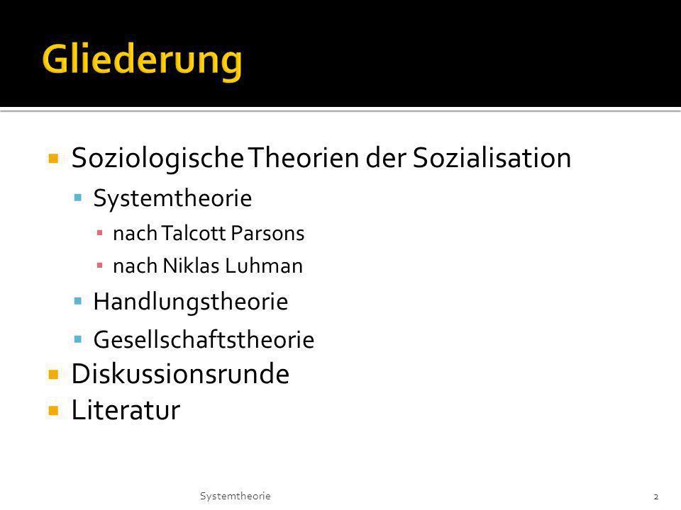 Soziologische Theorien der Sozialisation Systemtheorie nach Talcott Parsons nach Niklas Luhman Handlungstheorie Gesellschaftstheorie Diskussionsrunde Literatur 2Systemtheorie