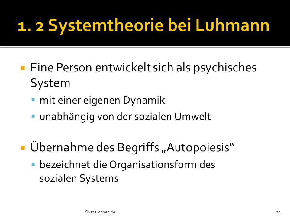 Eine Person entwickelt sich als psychisches System mit einer eigenen Dynamik unabhängig von der sozialen Umwelt Übernahme des Begriffs Autopoiesis bezeichnet die Organisationsform des sozialen Systems 23Systemtheorie