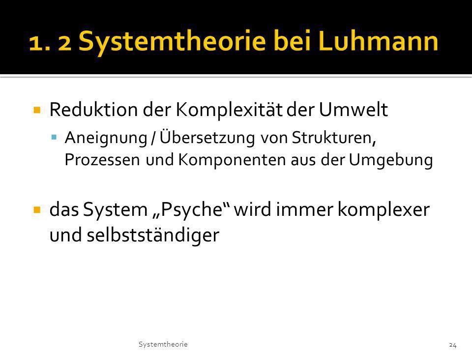 Reduktion der Komplexität der Umwelt Aneignung / Übersetzung von Strukturen, Prozessen und Komponenten aus der Umgebung das System Psyche wird immer komplexer und selbstständiger 24Systemtheorie