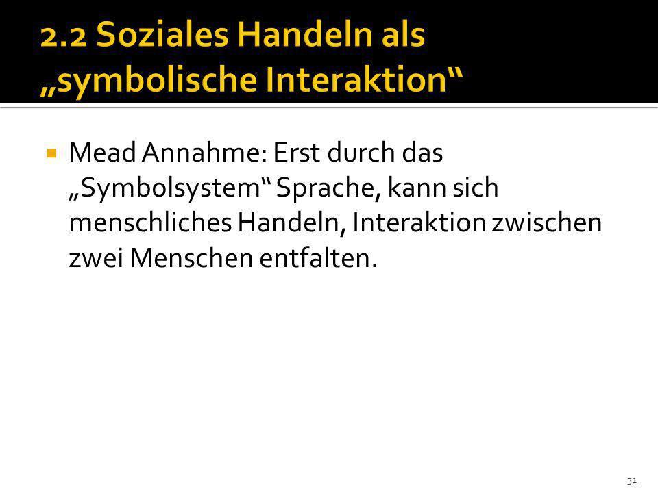 Mead Annahme: Erst durch das Symbolsystem Sprache, kann sich menschliches Handeln, Interaktion zwischen zwei Menschen entfalten.