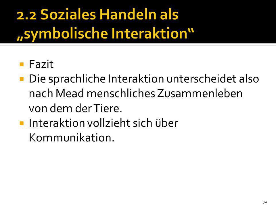Fazit Die sprachliche Interaktion unterscheidet also nach Mead menschliches Zusammenleben von dem der Tiere.