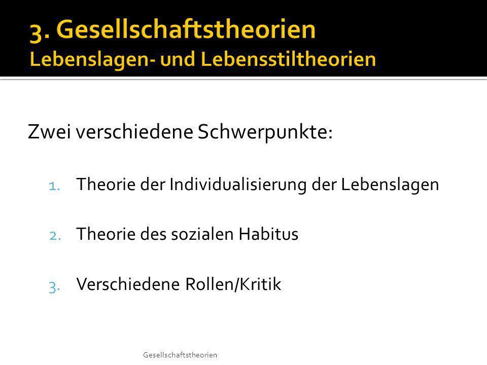 Zwei verschiedene Schwerpunkte: 1.Theorie der Individualisierung der Lebenslagen 2.