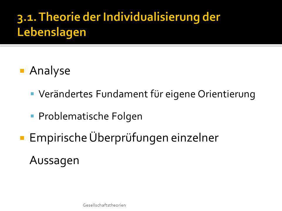 Analyse Verändertes Fundament für eigene Orientierung Problematische Folgen Empirische Überprüfungen einzelner Aussagen Gesellschaftstheorien