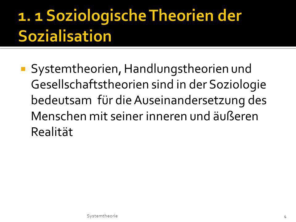 Systemtheorien, Handlungstheorien und Gesellschaftstheorien sind in der Soziologie bedeutsam für die Auseinandersetzung des Menschen mit seiner inneren und äußeren Realität 4Systemtheorie