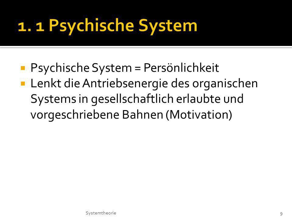 Psychische System = Persönlichkeit Lenkt die Antriebsenergie des organischen Systems in gesellschaftlich erlaubte und vorgeschriebene Bahnen (Motivation) 9Systemtheorie