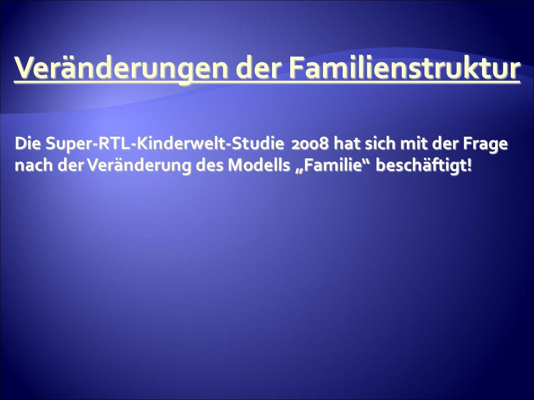 Veränderungen der Familienstruktur Die Super-RTL-Kinderwelt-Studie 2008 hat sich mit der Frage nach der Veränderung des Modells Familie beschäftigt!