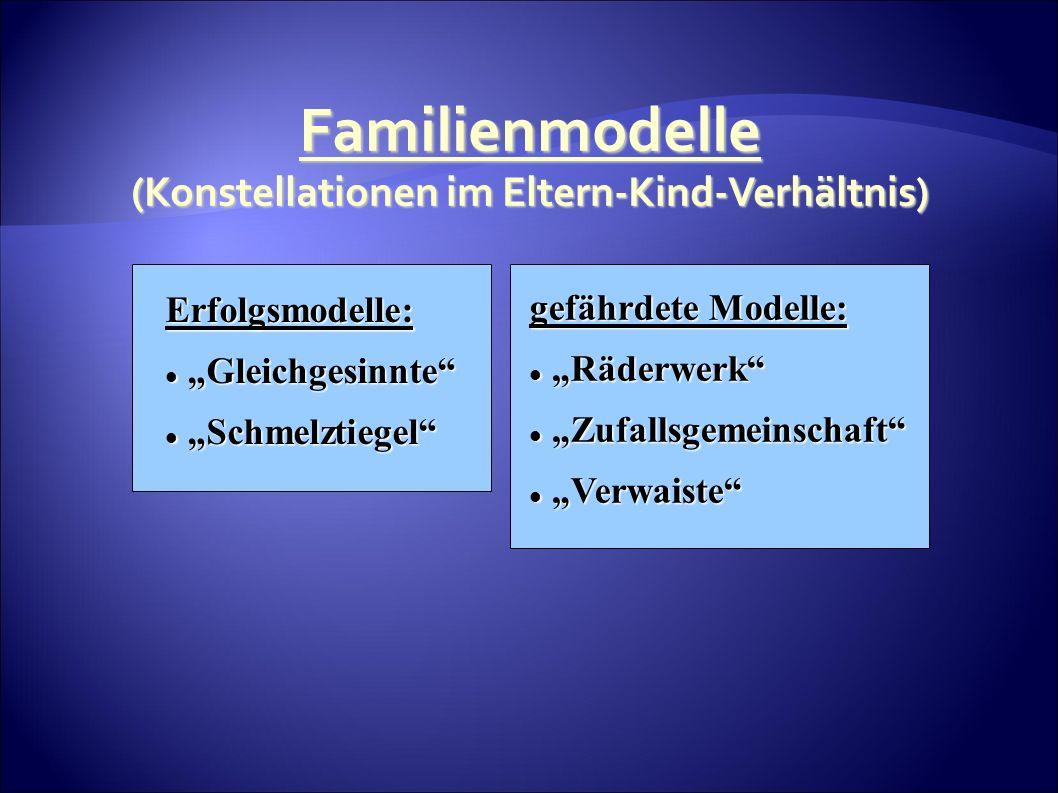 Familienmodelle (Konstellationen im Eltern-Kind-Verhältnis) Erfolgsmodelle: Gleichgesinnte Gleichgesinnte Schmelztiegel Schmelztiegel gefährdete Modelle: Räderwerk Räderwerk Zufallsgemeinschaft Zufallsgemeinschaft Verwaiste Verwaiste