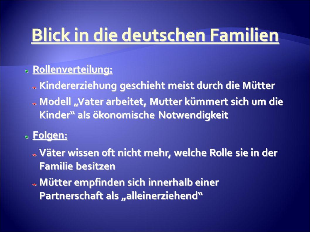 Rollenverteilung: Rollenverteilung: Kindererziehung geschieht meist durch die Mütter Modell Vater arbeitet, Mutter kümmert sich um die Kinder als ökonomische Notwendigkeit Folgen: Folgen: Väter wissen oft nicht mehr, welche Rolle sie in der Familie besitzen Mütter empfinden sich innerhalb einer Partnerschaft als alleinerziehend Blick in die deutschen Familien