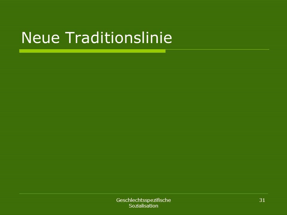 Neue Traditionslinie Geschlechtsspezifische Sozialisation 31